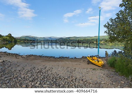 Yellow sailing boat with mast next to beautiful lake and mountains on calm still day illustration of peaceful scene - stock photo