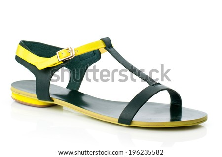 Yellow  sandal isolated on white background. - stock photo