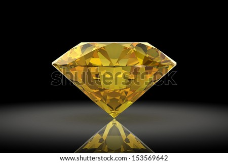 yellow sapphire (high resolution 3D image) - stock photo