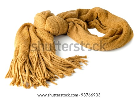 Yellow scarf isolated on white background. - stock photo