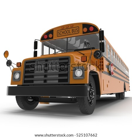 yellow school bus on white. 3D illustration