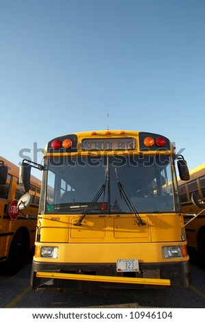 Yellow school bus with room for text - stock photo