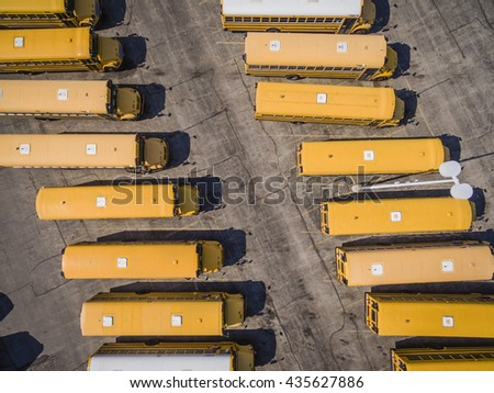Yellow School Busses aerial top view. - stock photo