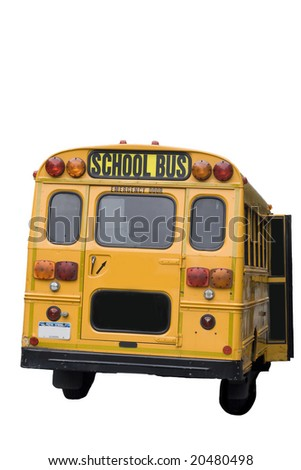 Yellow schoolbus from New York city isolated on white - stock photo