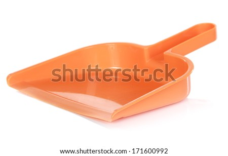 Yellow scoop against white background. Cleaning equipment - stock photo