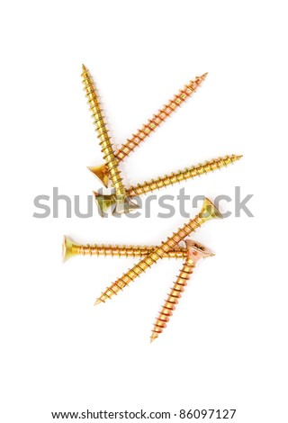 Yellow screws isolated on white background