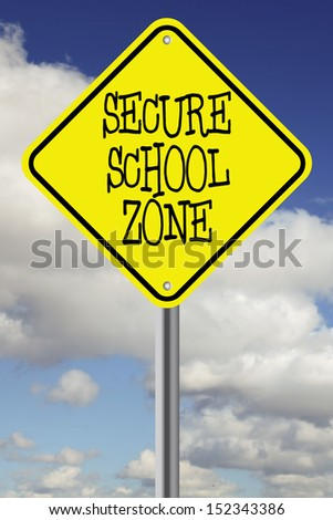 Yellow secure school zone road sign against beautiful sky - stock photo