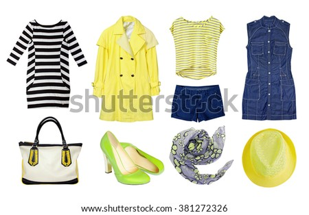 Yellow set female clothes isolated. Collage of women's spring clothing & accessories.Coat,top,dress,shoes.Modern fashion wear. - stock photo