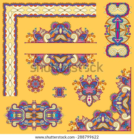 yellow set of paisley floral design elements for page decoration, frame, corner, divider, circle snowflake, stripe pattern, raster version illustration - stock photo
