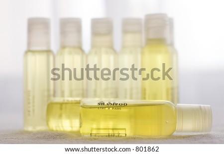 Yellow shampoo lime and basil - stock photo