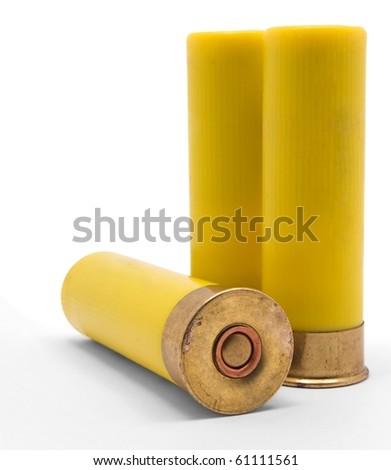 Yellow Shotgun Shells on White Background - stock photo