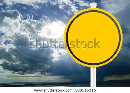 Yellow sign on background the time in the evening when the sun disappears or daylight fades. - stock photo