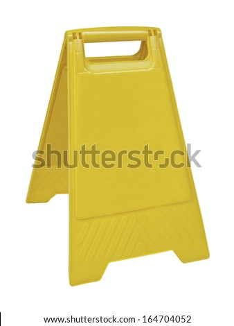 Yellow sign that alerts for wet floor.  (with clipping work path) - stock photo