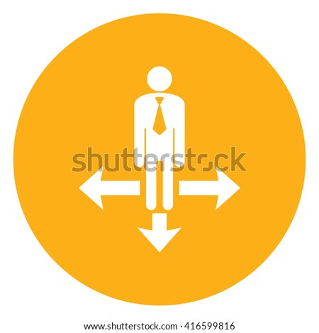 Yellow Simple Circle Business Decision or Business Direction Infographics Flat Icon, Sign Isolated on White Background  - stock photo