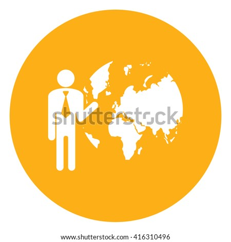 Yellow Simple Circle Businessman With The Earth Planet Infographics Flat Icon, Sign Isolated on White Background  - stock photo