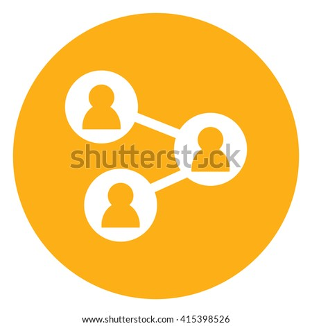 Yellow Simple Circle People Connection, Social Network Infographics Flat Icon, Sign Isolated on White Background - stock photo