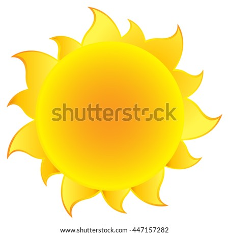 Yellow Simple Sun With Gradient. Raster Illustration Isolated On White Background - stock photo
