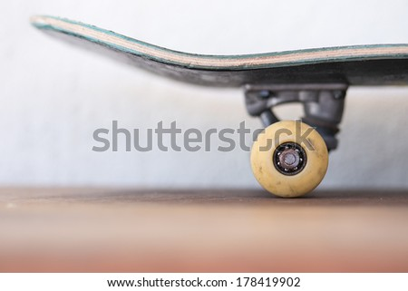 Yellow skate board wheels - stock photo