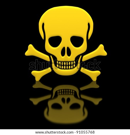 Yellow skull and crossbones on a black glossy surface. - stock photo