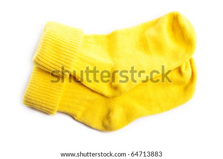 Yellow socks isolated on white