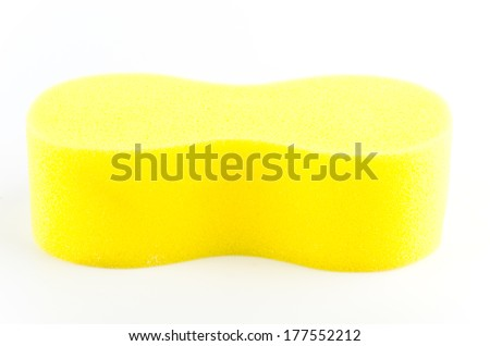 Yellow sponge isolated on white background - stock photo