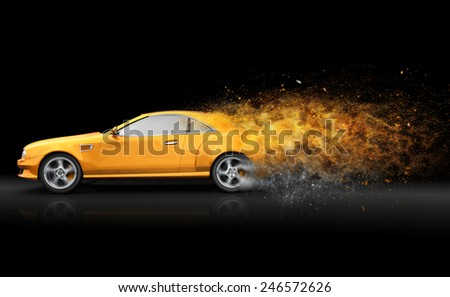 Yellow sport coupe with trail of dust - stock photo