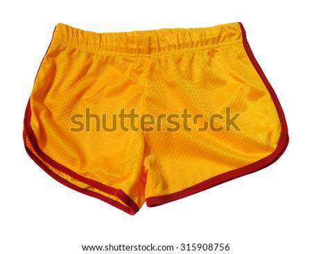 Yellow sporting shorts - stock photo