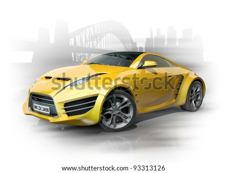 Yellow sports car against an urban background. Non-branded car design. - stock photo