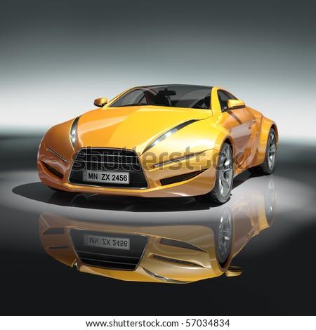 Yellow sports car. Original car design. - stock photo