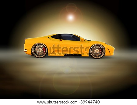Yellow sports car -  sunrise / sunset moody studio shot - stock photo