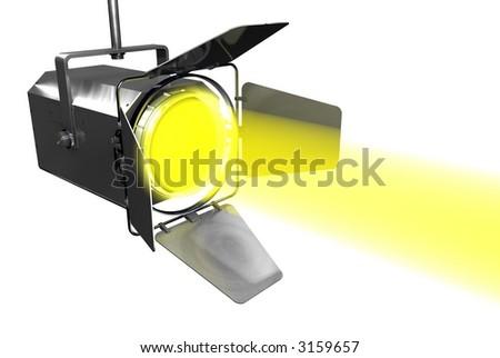 Yellow Spotlight on Black - stock photo