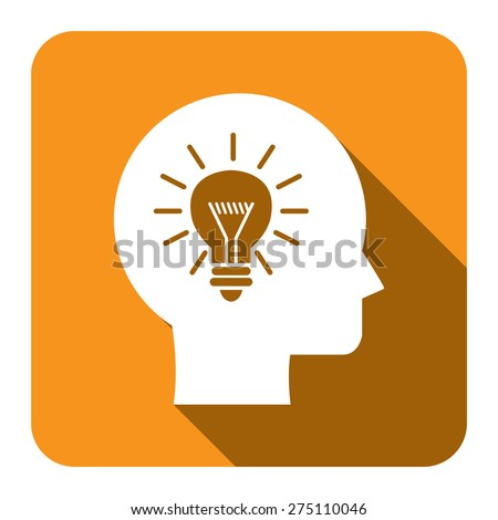 Yellow Square Head With Light Bulb, Idea Flat Long Shadow Style Icon, Label, Sticker, Sign or Banner Isolated on White Background - stock photo