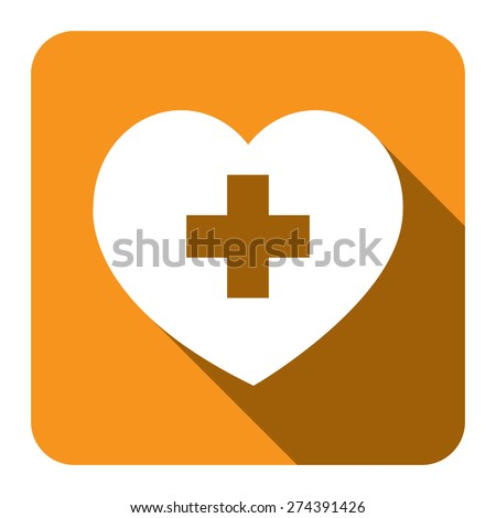 Yellow Square Heart With Cross or Plus, Add Favorite Sign Flat Long Shadow Style Icon, Label, Sticker, Sign or Banner Isolated on White Background - stock photo