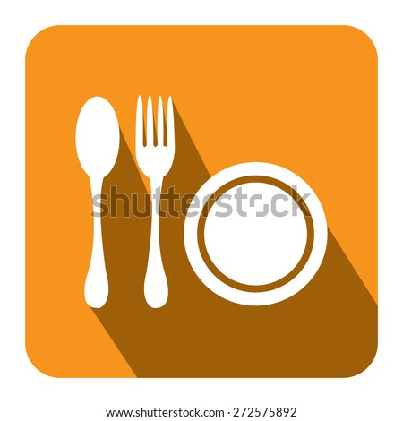 Yellow Square Restaurant, Bistro, Cafeteria or Food Center Long Shadow Style Icon, Label, Sticker, Sign or Banner Isolated on White Background - stock photo