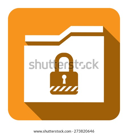 Yellow Square Secret Folder or Data Permission Security Long Shadow Style Icon, Label, Sticker, Sign or Banner Isolated on White Background - stock photo