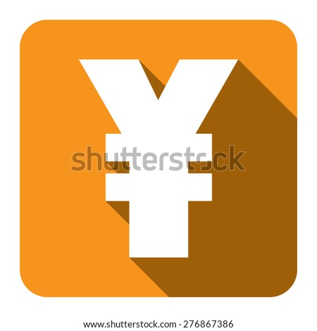 Yellow Square Yuan, Yen Currency Flat Long Shadow Style Icon, Label, Sticker, Sign or Banner Isolated on White Background - stock photo