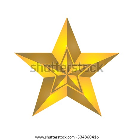 Yellow star (edge yellow) in yellow star isolated on white background