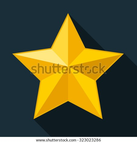 Yellow star, gold star on black background, 3d icon