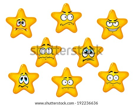 Yellow stars set with negative emotions for comics design. Vector version also available in gallery - stock photo