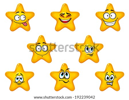 Yellow stars with happy and cheerful emotions isolated on white background. Vector version also available in gallery - stock photo