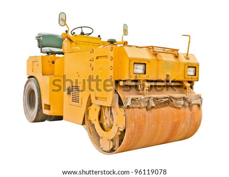 Yellow steamroller isolated on white background - stock photo