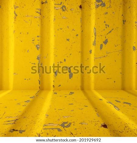 yellow steel metal grunge background - stock photo