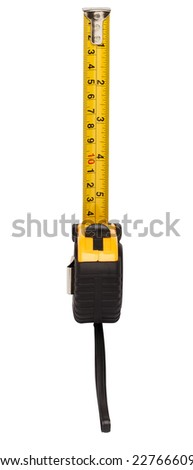 Yellow steel tape measure isolated on white background. Repair and building concept - stock photo
