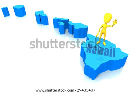 Yellow stick figure standing on blue state of Hawaii waving. On a white background with a clipping path