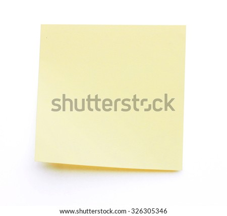 Yellow stick note isolated on white background - stock photo