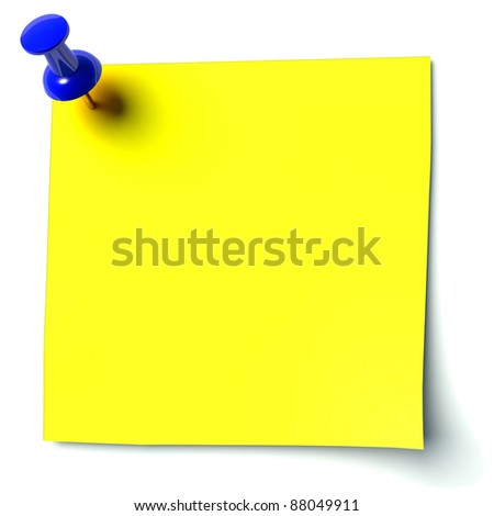 yellow sticker attached drawing pin - stock photo