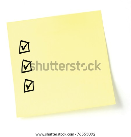 Yellow sticker checklist, black check boxes and tick marks, isolated, blank post-it to-do list sticky note - stock photo