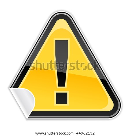 Yellow sticker warning attention sign with exclamation mark and curved corner on white background. Bitmap copy my vector ID: 44468644 - stock photo
