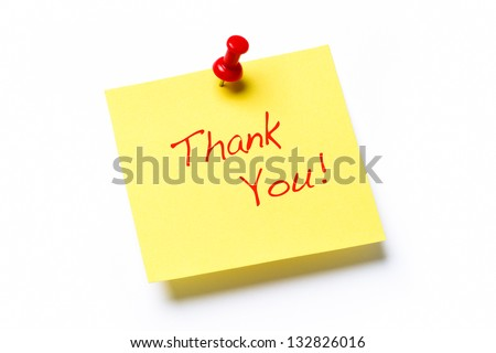 Yellow sticky note isolated on a white background with the words Thank You - stock photo