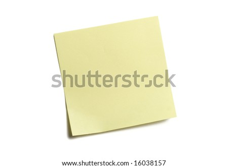 Yellow sticky note isolated on white - stock photo
